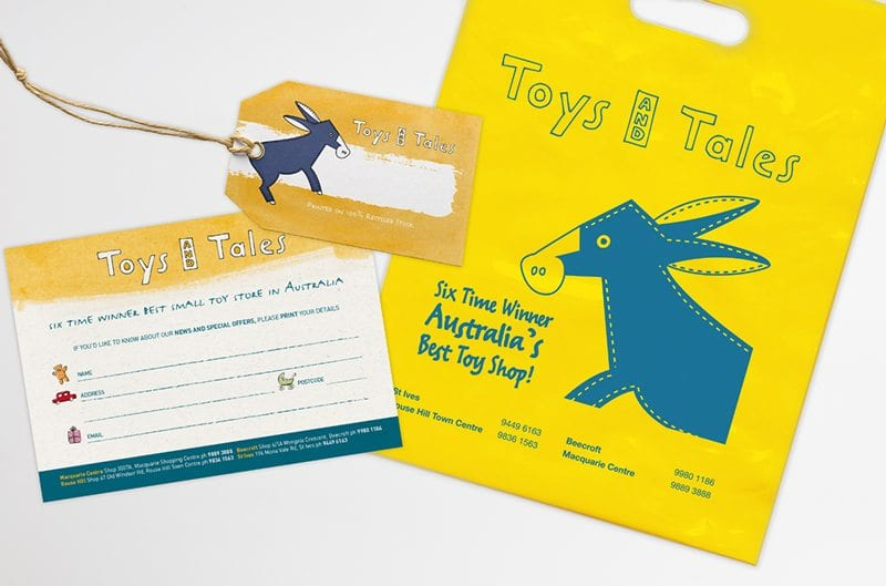 Toys and Tales Price Tag Bag and Postcard